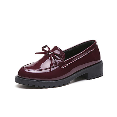 בגדי ריקוד נשים נעליים PU אביב נוחות נעליים ללא שרוכים עקב נמוך בוהן עגולה פפיון שחור / בורדו