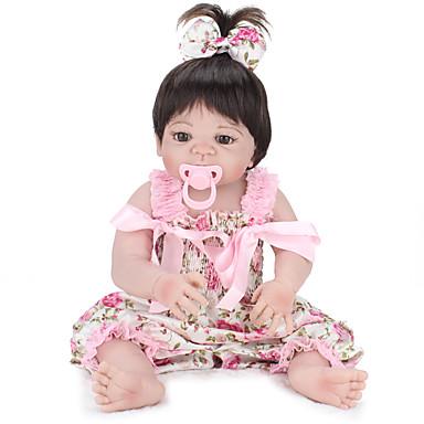 NPKCOLLECTION NPK DOLL Reborn Dolls Vauvat 22 inch Koko kehon silikoni Silikoni Vinyyli - elävä Cute Käsintehty Lapsiturvallinen Non Toxic Lovely Lasten Tyttöjen Lelut Lahja / CE / Levyke