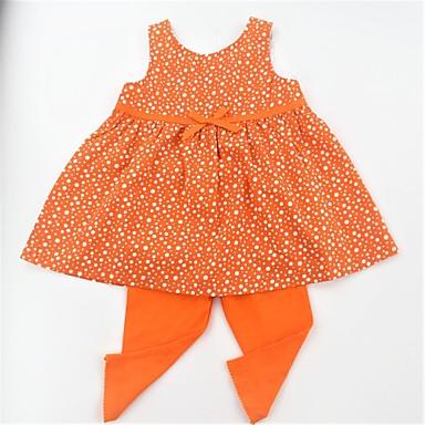 Dívčí Bavlna Denní Škola Puntíky Léto Sady oblečení, Bez rukávů Na běžné nošení Aktivní Vodní modrá Oranžová