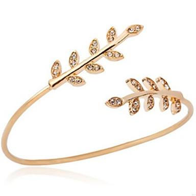 בגדי ריקוד נשים צמידי חפתים - יהלום מדומה Leaf Shape אופנתי צמידים זהב עבור יומי / ליציאה