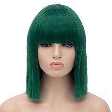 Syntetiske parykker Rett tetthet Lokkløs Dame Grønn Karneval Parykk Halloween parykk Kort Syntetisk hår