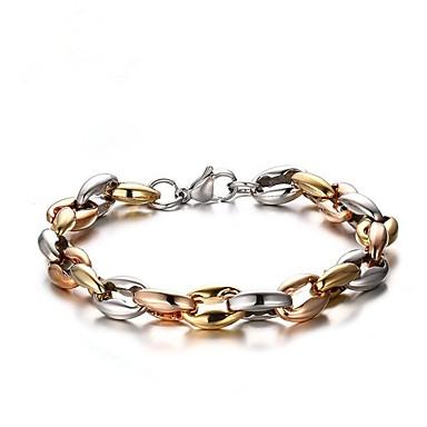 בגדי ריקוד גברים גיאומטרי שרשרת וצמידים - פלדת על חלד אופנתי צמידים זהב עבור מתנה / יומי