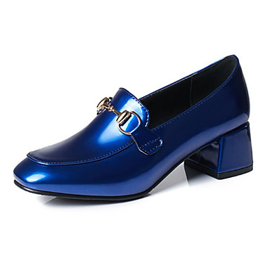 בגדי ריקוד נשים נעליים PU אביב / סתיו נוחות / חדשני עקבים עקב עבה ניטים שחור / אדום / כחול / מסיבה וערב
