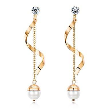 efeffd6d69d1 Mujer Zirconia Cúbica Perla Pendientes colgantes Chapado en Oro Aretes Gota  Clásico Moda Joyas Dorado