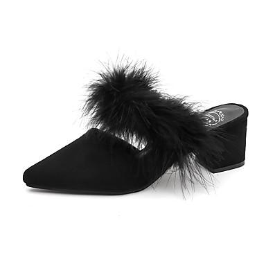 בגדי ריקוד נשים סוויד אביב נוחות סוגי כפכפים שטוח בוהן עגולה נוצות שחור / בז'
