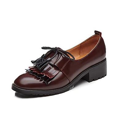 בגדי ריקוד נשים נעליים עור אביב / סתיו נוחות נעליים ללא שרוכים עקב עבה בוהן עגולה פרנזים שחור / חום