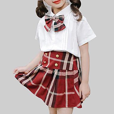 baratos Conjuntos para Meninas-Bébé Para Meninas Casual Moda de Rua Diário Escola Xadrez Laço Conferir Padrão Manga Curta Padrão Conjunto Branco