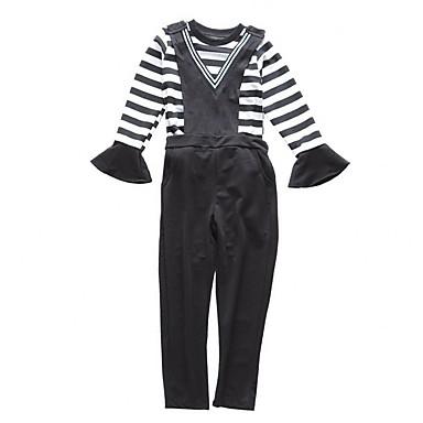 סט של בגדים כותנה שרוולים קצרים / שרוול ארוך אחיד / פסים חגים פשוט / יום יומי בנות ילדים