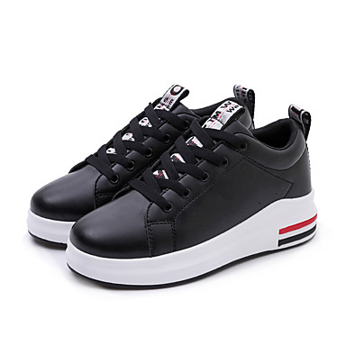 Women's Leatherette / Cowhide / PU(Polyurethane) Spring / Fall Comfort Sneakers Wedge Heel Round Toe Lace-up White / Black