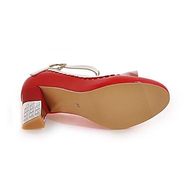 Noeud Confort à Printemps Similicuir Femme Salomé Beige Chaussures Rouge Rose Automne rond Talons Bout 06601390 Talon Bottier Chaussures qX0O0