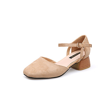 בגדי ריקוד נשים נעליים PU אביב / קיץ נוחות עקבים חסום את העקב בוהן מרובעת שחור / בז'
