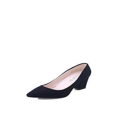 Mulheres Sapatos Couro Ecológico Primavera / Verão Conforto Saltos Salto Robusto Dedo Apontado Preto / Cinzento / Vermelho / Social