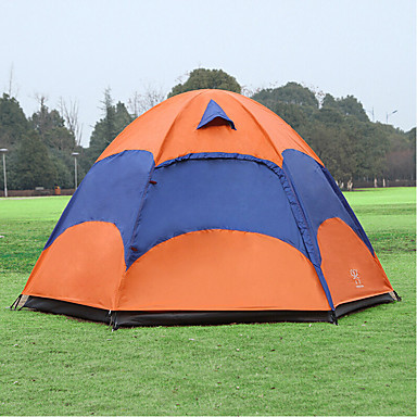 cheap Camping, Hiking & Backpacking-Sheng yuan 4 person Tent with Mosquito Net Outdoor Waterproof Breathability Ultraviolet-Resistant Double Layered Poled Dome Camping Tent Hexagon Shape 1500-2000 mm Hiking Camping Oxford 240*240*135 cm