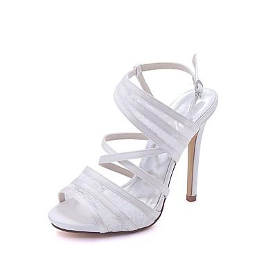 Bout Femme Bleu Chaussures Basique de Dentelle Aiguille Satin Eté Rouge Printemps Ivoire Escarpin ouvert Talon mariage 06580698 Chaussures q77Bg
