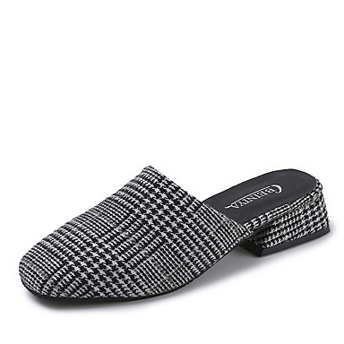 בגדי ריקוד נשים נעליים PU אביב / קיץ נוחות סוגי כפכפים עקב נמוך בוהן עגולה שחור / בורדו