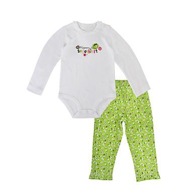 b742f41f3c11 Μωρό Κοριτσίστικα Καθημερινό Καθημερινά   Αργίες Φλοράλ Άνθινο Στυλ  Μακρυμάνικο Κανονικό Βαμβάκι Σετ Ρούχων Πράσινο Ανοικτό