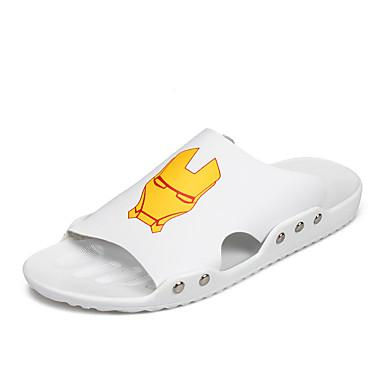 Homens Sapatos Confortáveis Couro Ecológico Verão Sandálias Branco / Preto