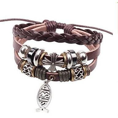 voordelige Herensieraden-Heren Wikkelarmbanden Lederen armbanden stack Vissen Rock Modieus Leder Armband sieraden Bruin Voor Dagelijks