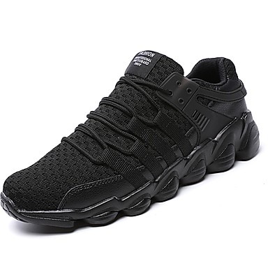 Men's Knit / Faux Leather Fall / Tulle Spring / Fall Leather Comfort Athletic Shoes Running Shoes / Walking Shoes White / Black / Gray 28f590