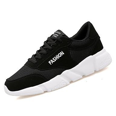 בגדי ריקוד נשים נעליים PU אביב / סתיו נוחות נעלי אתלטיקה הליכה שטוח בוהן עגולה שחור / שחור לבן