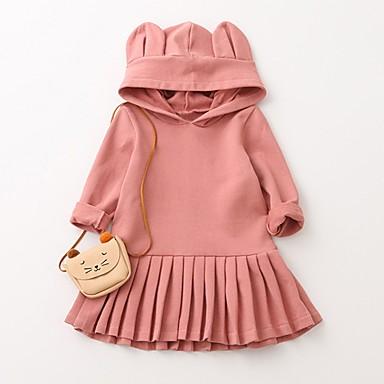 שמלה כותנה אביב קיץ שרוול ארוך יומי חגים אחיד הילדה של חמוד פעיל ורוד מסמיק
