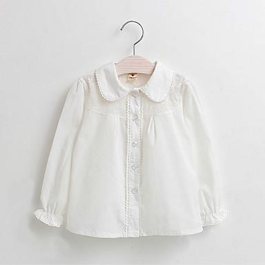 חולצה כותנה אביב סתיו שרוול ארוך יומי אחיד בנות יום יומי לבן