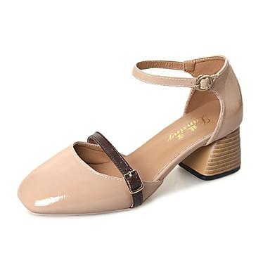 Mulheres Sapatos Couro Ecológico Verão Sandálias Caminhada Salto Robusto Ponta Redonda Combinação para Branco Pele