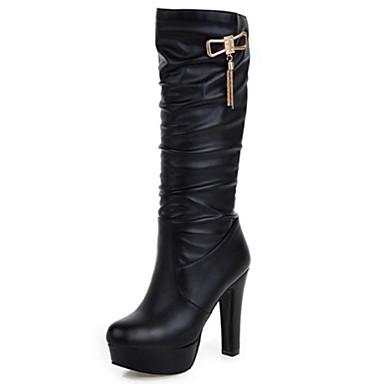 voordelige Dameslaarzen-Dames Laarzen Naaldhak Gepuntte Teen Siernagel PU Kuitlaarzen Comfortabel / Noviteit Lente / Herfst Wit / Zwart / Beige / EU42