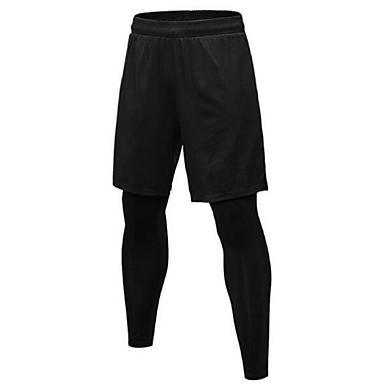 בגדי ריקוד גברים מכנסי ריצה - שחור, אפור ספורט טייץ רכיבה על אופניים לבוש אקטיבי ייבוש מהיר, עיצוב אנטומי סטרצ'י (נמתח)