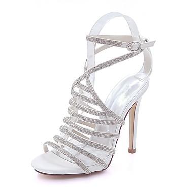 Basique Chaussures Bout Boucle ouvert 06580689 Satin Aiguille Rouge Talon Eté Femme Brillante Sandales Escarpin Paillette Printemps Xx1Owp