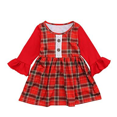 שמלה כותנה אביב קיץ שרוול ארוך ליציאה בית הספר אחיד משובץ דמקה טלאים הילדה של פשוט וינטאג' אודם