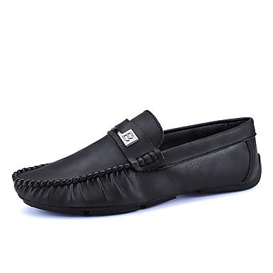 בגדי ריקוד גברים מוקסין דמוי עור / PU אביב / סתיו נוחות נעליים ללא שרוכים שחור / חום / חאקי
