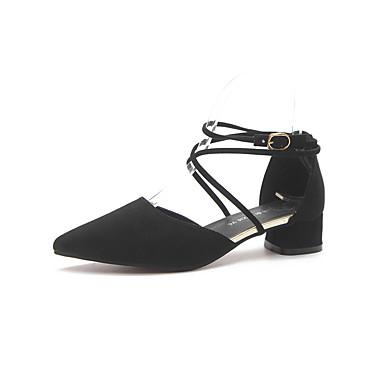 נעליים PU אביב נוחות נעליים ללא שרוכים עקב נמוך בוהן עגולה פפיון שחור / חום