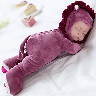 Plush Doll Baby 14 inch Silicone Vinyl - Singing Child Safe Non Toxic Sleep Play Lullaby With 3 Choices of Songs Kid's Girls' Toy Gift / Floppy Head / Natural Skin Tone