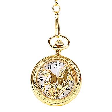 Недорогие Женские часы-Муж. Для пары Повседневные часы Карманные часы золотые часы Кварцевый Золотистый Повседневные часы Cool Аналоговый Винтаж На каждый день - Золотой