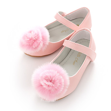 בנות נעליים דמוי עור אביב בלרינה / נעליים לילדת הפרחים שטוחות סקוטש / פום פום ל לבן / ורוד