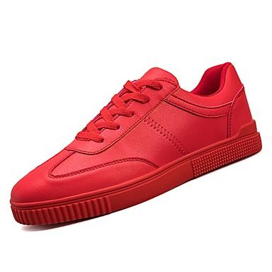 בגדי ריקוד גברים גומי אביב / סתיו נוחות נעלי ספורט לבן / שחור / אדום