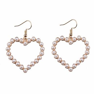 billige Moteøreringer-Dame Perle Dråpeøreringer Store Øreringer Hjerte damer Enkel Koreansk Imitert Perle øredobber Smykker Hvit Til Daglig Valentine