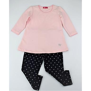 סט של בגדים כותנה ארוך ארוך שרוול ארוך רקום / דפוס פרחוני / קולור בלוק יום יומי / פעיל / בסיסי בנות פעוטות