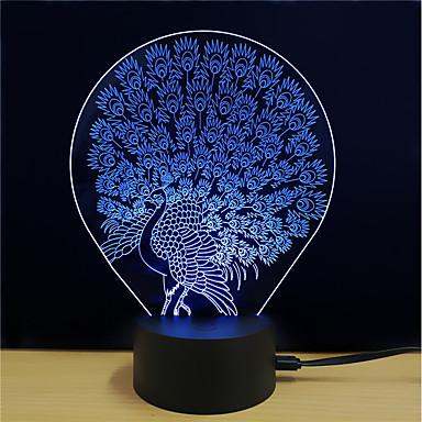 1set אור תלת ממדי DC מופעל הפגת מתחים וחרדה / החלפת צבעים / עם יציאת USB 5 V