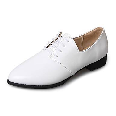 Mujer Zapatos PU Verano Confort Oxfords Tacón Plano Dedo redondo Blanco / Beige dcdaLWFHJ