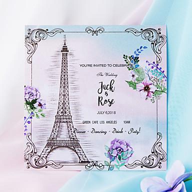 abordables Faire-part mariage-Carte plate Faire-part mariage Paquet de 50 / Paquet de 20 - ensembles de Faire-Part Style artistique Papier nacre