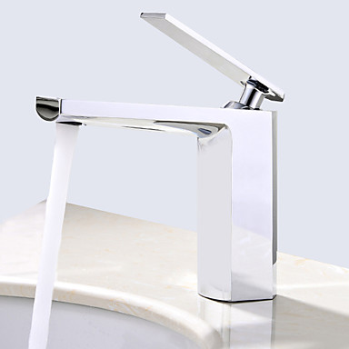 Deck Mounted Ceramic Valve Single Handle One Hole Chrome, Bathroom Sink Faucet