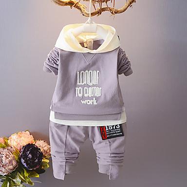 billige Tøjsæt til drenge-Baby Unisex Afslappet Basale Fest Daglig Ensfarvet Trykt mønster Jacquard Vævning Klassisk Ren Farve Dyre Mønster Langærmet Normal Normal Bomuld Tøjsæt Lyserød