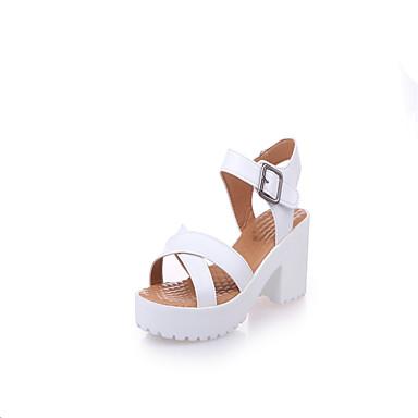 Mulheres Sapatos Couro Ecológico Primavera / Verão Conforto / botas de desleixo Sandálias Caminhada Sem Salto Dedo Apontado Branco /