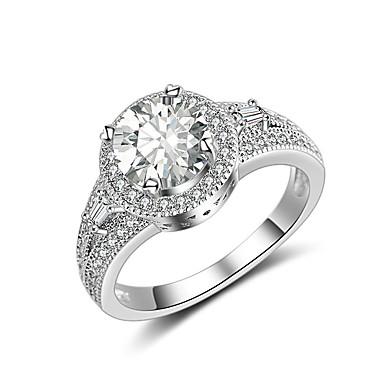 בגדי ריקוד נשים זירקונה מעוקבת טבעת הטבעת - זירקון, מצופה כסף קלסי, וינטאג', אלגנטית 6 / 7 / 8 כסף עבור חתונה / ארוסים / טקס