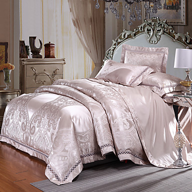 ensembles housse de couette luxe m lange soie coton jacquard 4 pi cesbedding sets 800 de. Black Bedroom Furniture Sets. Home Design Ideas