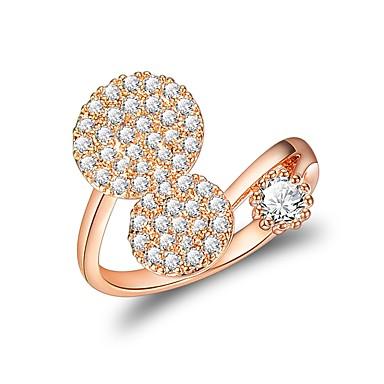 Χαμηλού Κόστους Μοδάτο Δαχτυλίδι-Γυναικεία Δέσε Ring Cubic Zirconia Χρυσό Τριανταφυλλί Rose Gold Ζιρκονίτης Circle Shape Bowknot Shape Geometric Shape Λουλούδι Λουλουδάτο