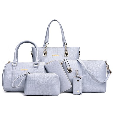 34d2b37875e Women s Bags PU(Polyurethane) Bag Set 6 Pieces Purse Set Embossed Crocodile  Blushing Pink   Gray   Purple