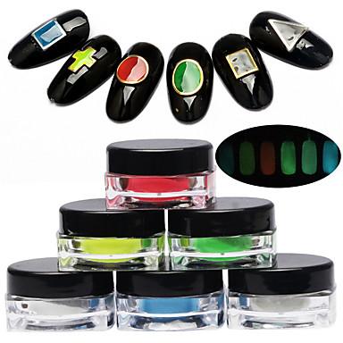 Недорогие Все для маникюра-6 6шт Порошок блеска Светится в темноте / С подсветкой Дизайн ногтей